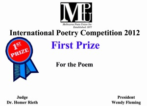 This is a mock up of the certificate for First Prize